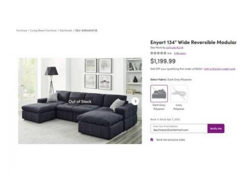 Brand New never used Sectional Couch - $975 paid $1099.99